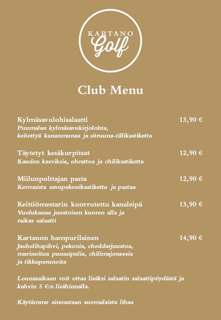 Ravintola Kesäkartanon Club Menu